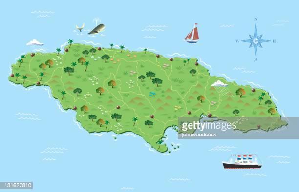 jamaica illustrated map - jamaica stock illustrations