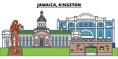 Jamaica, Kingston. City skyline, architecture, buildings, streets, silhouette, landscape, panorama, landmarks. Editable strokes. Flat design line vector illustration concept. Isolated icons