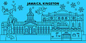 Jamaica, Kingston winter holidays skyline. Merry Christmas, Happy New Year decorated banner with Santa Claus.Jamaica, Kingston linear christmas city vector flat illustration