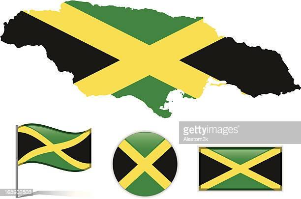 jamaica map & flag - jamaican culture stock illustrations, clip art, cartoons, & icons