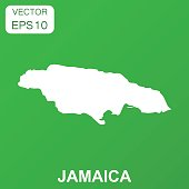 Jamaica map icon. Business concept Jamaica pictogram. Vector illustration on green background.