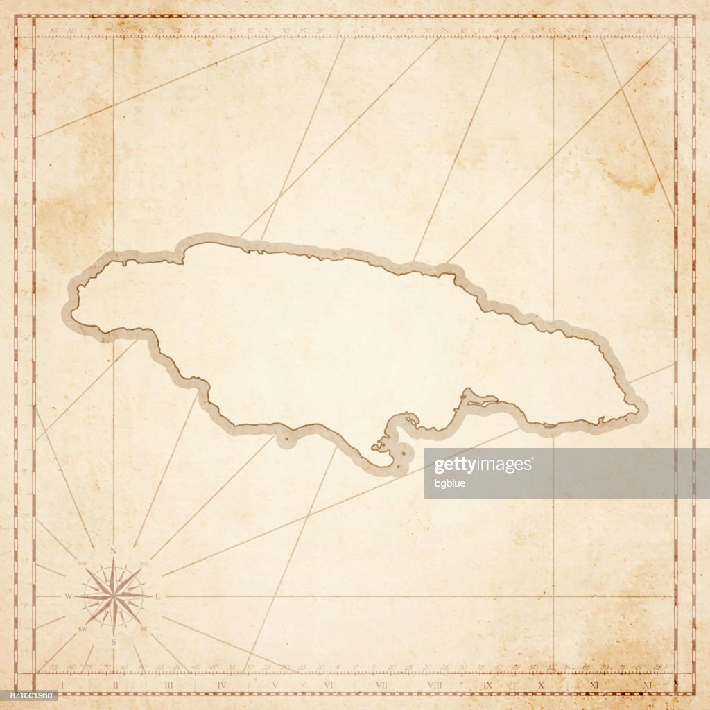 Jamaica Map In Retro Vintage Style Old Textured Paper Vector Art - Vintage map of jamaica