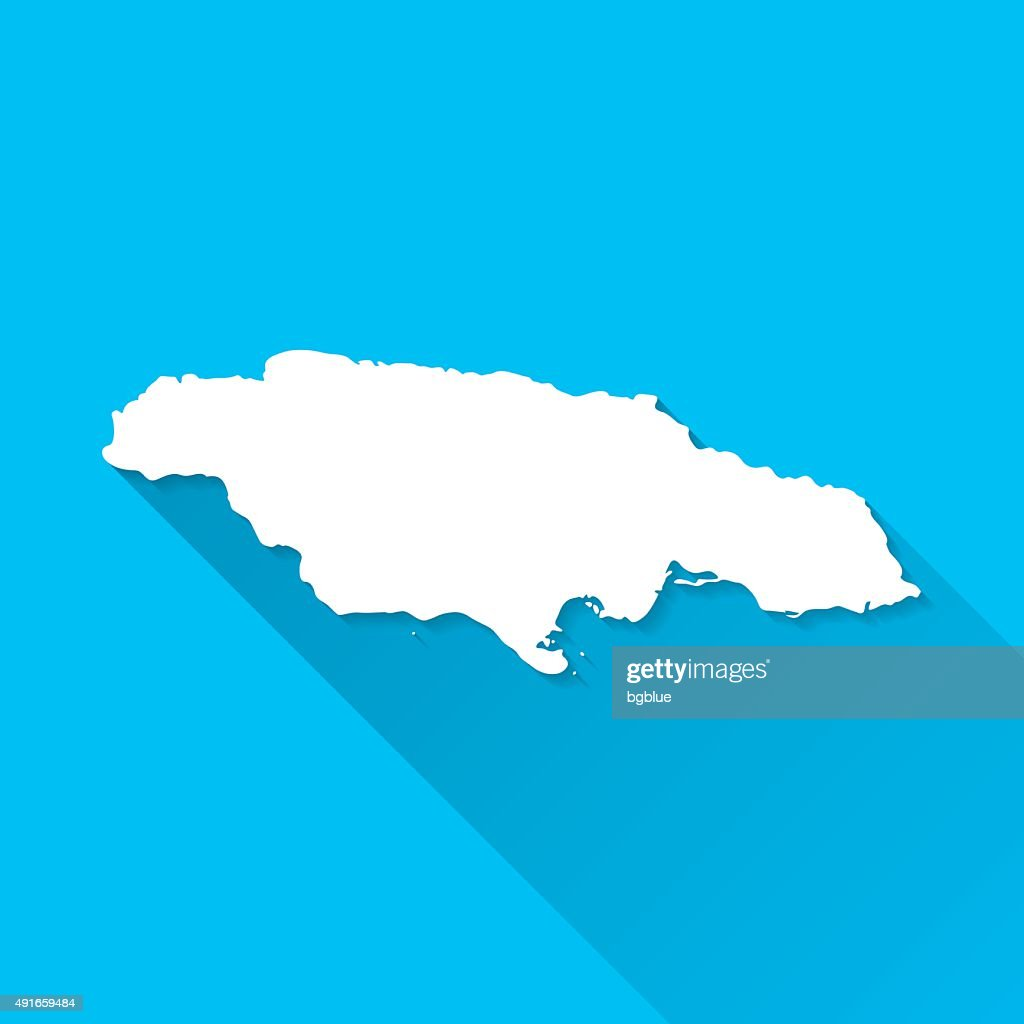 Jamaica Map on Blue Background, Long Shadow, Flat Design