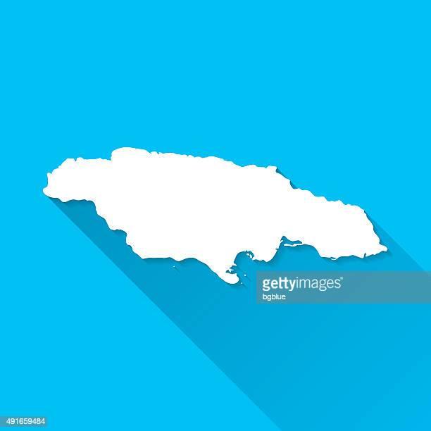 jamaica map on blue background, long shadow, flat design - jamaica stock illustrations, clip art, cartoons, & icons