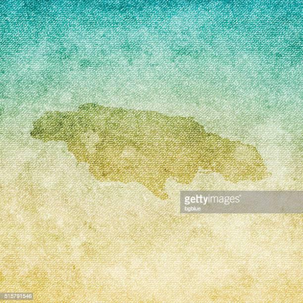 jamaica map on grunge canvas background - jamaica stock illustrations, clip art, cartoons, & icons