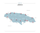 Jamaica map vector with red pin.
