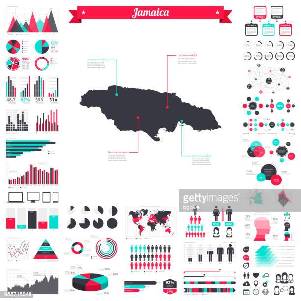 jamaica map with infographic elements - big creative graphic set - jamaica stock illustrations, clip art, cartoons, & icons