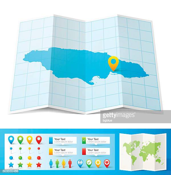 jamaica map with location pins isolated on white background - jamaica stock illustrations, clip art, cartoons, & icons