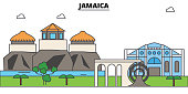 Jamaica outline skyline, jamaician flat thin line icons, landmarks, illustrations. Jamaica cityscape, jamaician travel city vector banner. Urban silhouette
