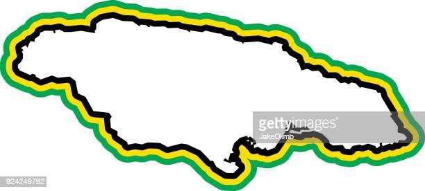 jamaica outline - jamaican culture stock illustrations, clip art, cartoons, & icons