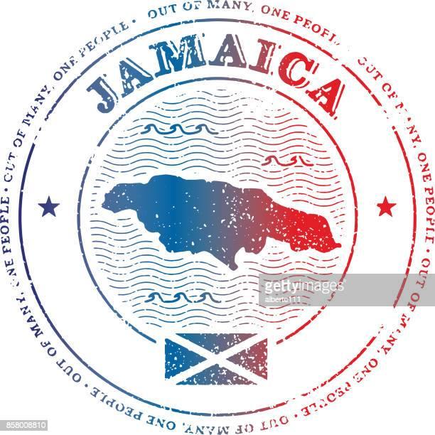 jamaica travel stamp - jamaica stock illustrations, clip art, cartoons, & icons