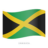 Jamaica waving flag vector icon. Vector illustration isolated on white.