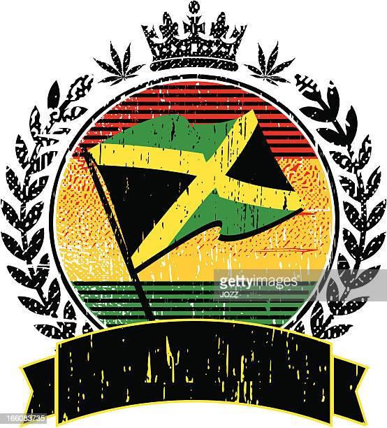 jamaican flag emblem - jamaican culture stock illustrations, clip art, cartoons, & icons