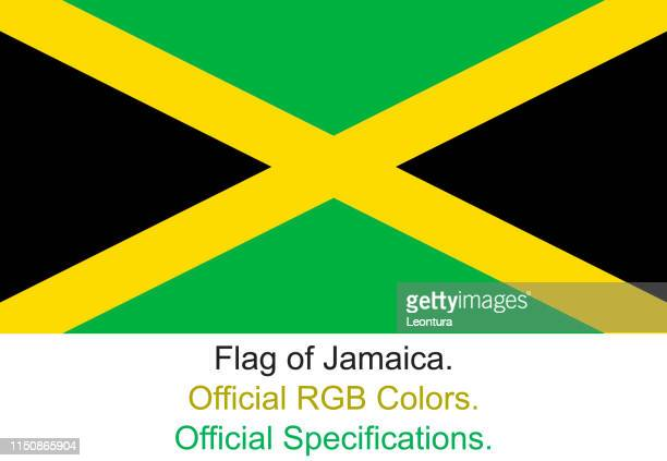 jamaican flag in official rgb colours and official specifications - jamaican culture stock illustrations, clip art, cartoons, & icons