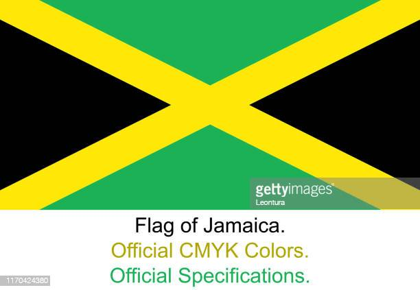 jamaican flag (official cmyk colours, official specifications) - jamaican culture stock illustrations, clip art, cartoons, & icons