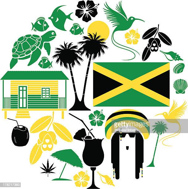 jamaican icon set - jamaica stock illustrations
