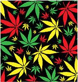 jamaican marijuana  pattern on black background