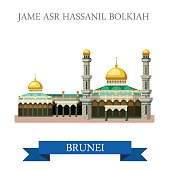 Jame Asr Hassanil Bolkiah mosque in Brunei. Flat cartoon style historic sight showplace attraction web site vector illustration. World countries cities vacation travel sightseeing Asia collection.
