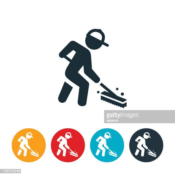 janitor sweeping icon - sweeping stock illustrations