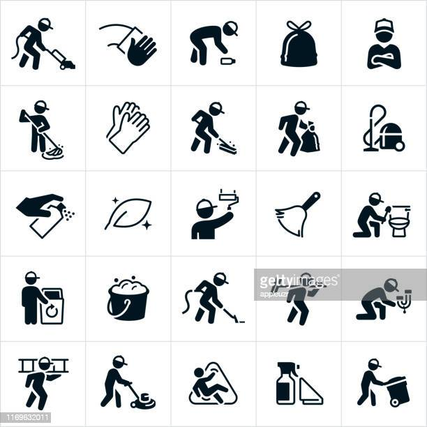 janitorial icons - clean stock illustrations