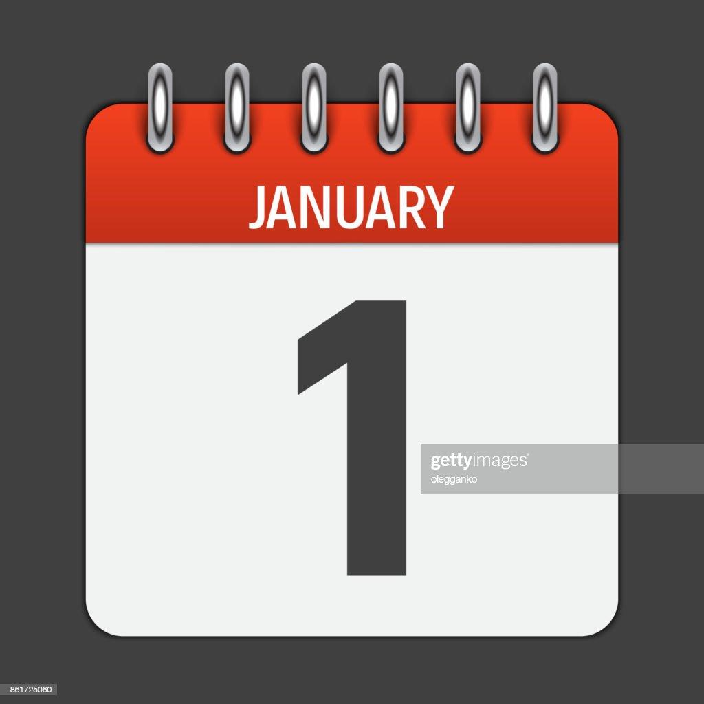 January 1 Calendar Daily Icon. Vector Illustration Emblem. Eleme