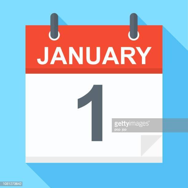 january 1 - calendar icon - january stock illustrations