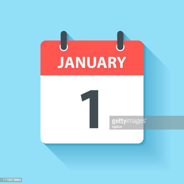 january 1 - daily calendar icon in flat design style - 2019 2020 calendar stock illustrations