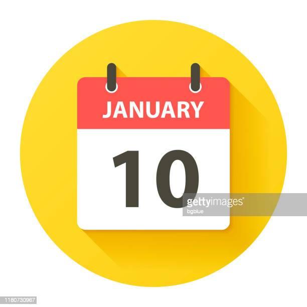 bildbanksillustrationer, clip art samt tecknat material och ikoner med 10 januari-rund dagskalender ikon i flat design stil - round ten