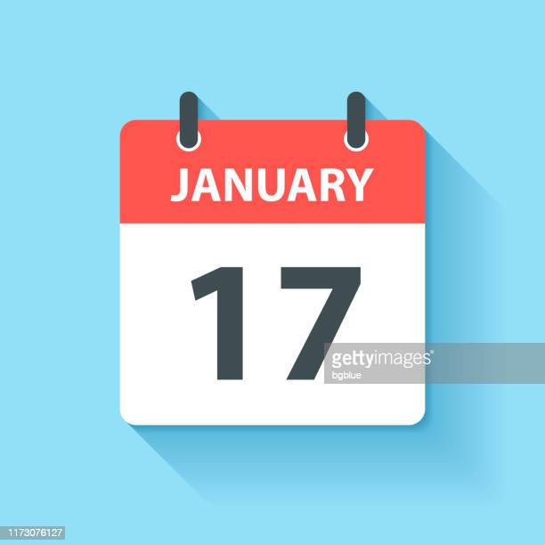january 17 - daily calendar icon in flat design style - day stock illustrations, clip art, cartoons, & icons