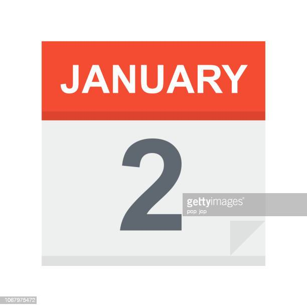 january 2 - calendar icon - number 2 stock illustrations