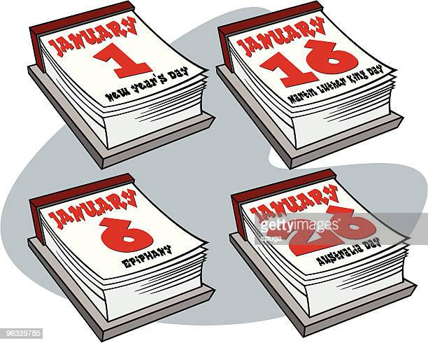 illustrations, cliparts, dessins animés et icônes de janvier 2006 le calendrier des jours fériés - galette des rois