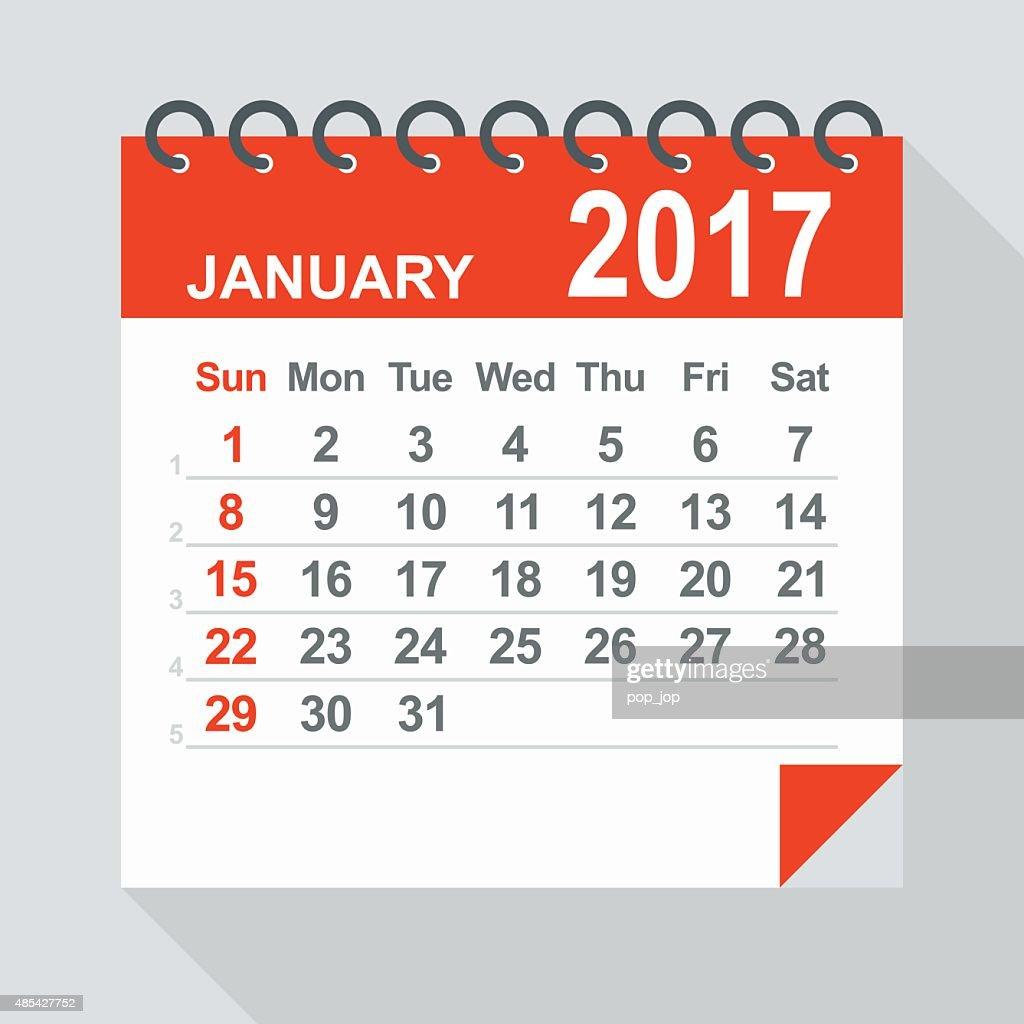 January 2017 calendar - Illustration