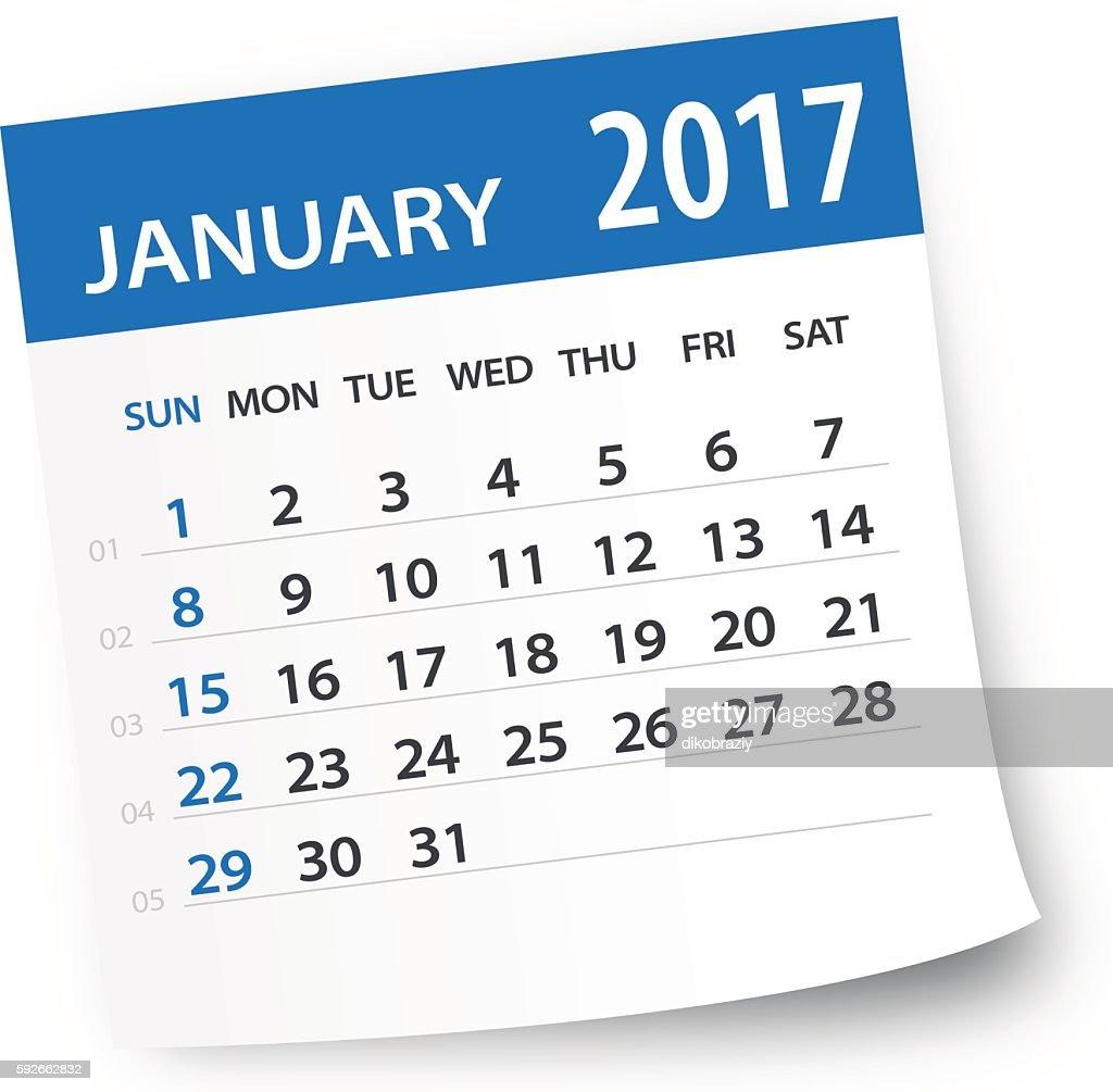 January 2017 calendar leaf - Illustration