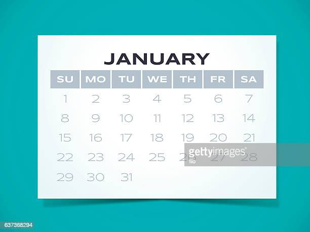 january 2017 calendar - monthly event stock illustrations