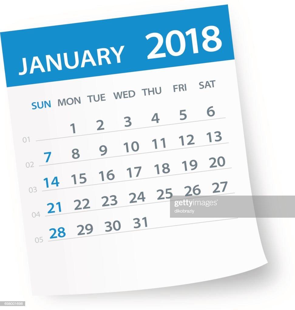 January 2018 Calendar Leaf - Illustration