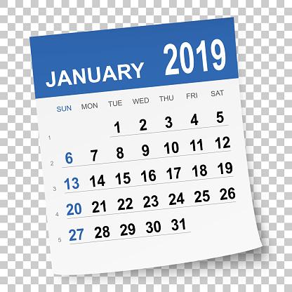 January 2019 calendar - gettyimageskorea