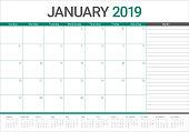 January 2019 desk calendar vector illustration