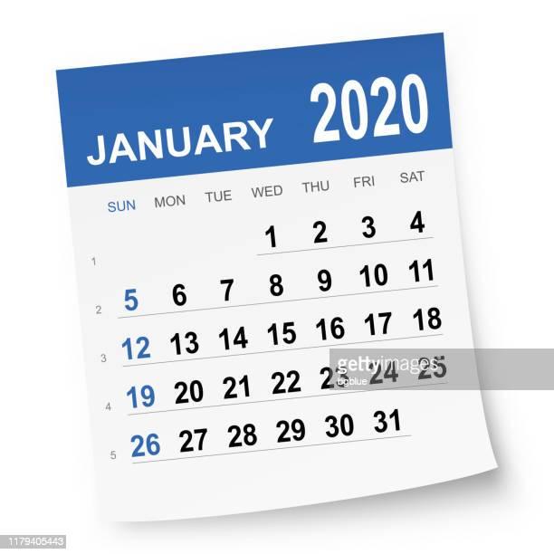 january 2020 calendar - january stock illustrations