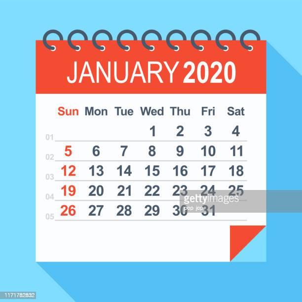 january 2020 - calendar. week starts from sunday - january stock illustrations