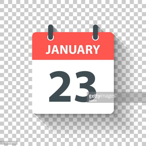 january 23 - daily calendar icon in flat design style - january stock illustrations
