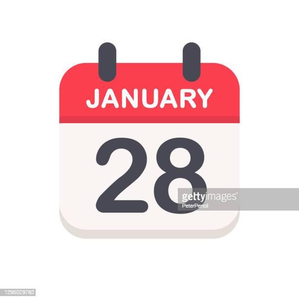 january 28 - calendar icon - この撮影のクリップをもっと見る 2025 stock illustrations