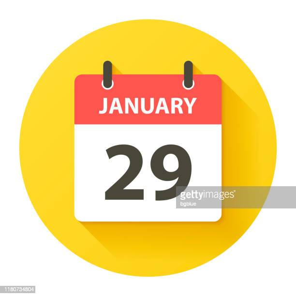 january 29 - round daily calendar icon in flat design style - january stock illustrations