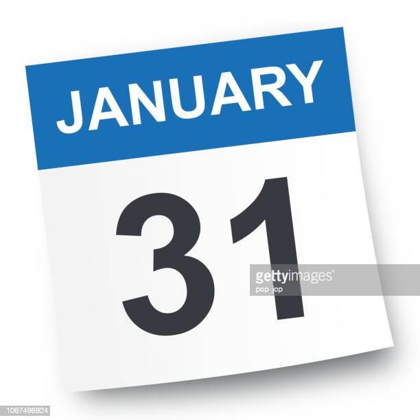 january 31 - calendar icon - january stock illustrations