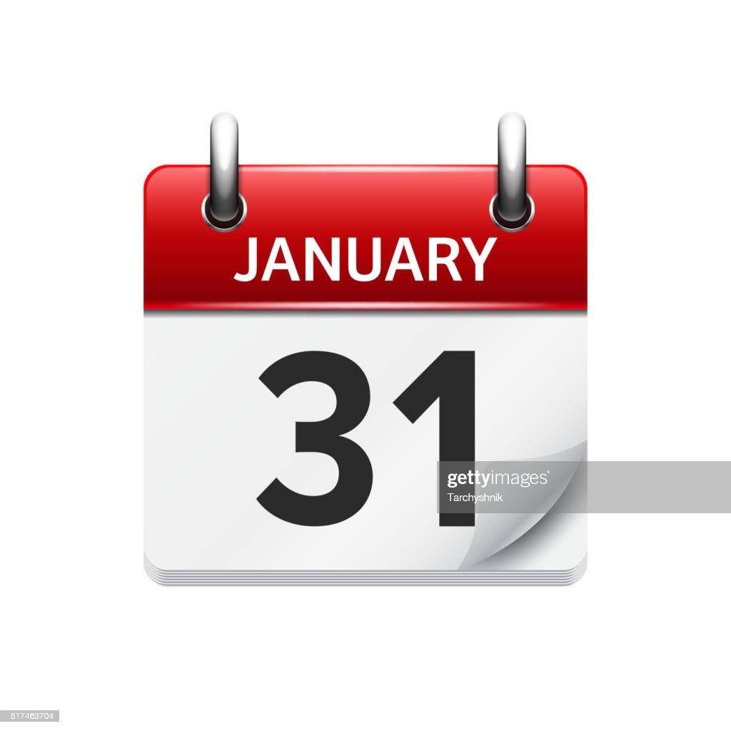 January 31. Vector flat daily calendar icon. Date and time