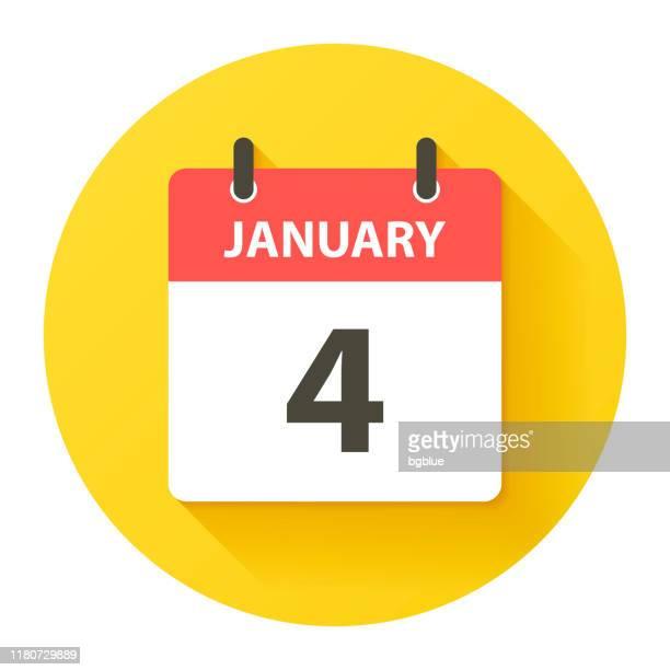 bildbanksillustrationer, clip art samt tecknat material och ikoner med 4 januari-rund daglig kalenderikon i flat design stil - round four