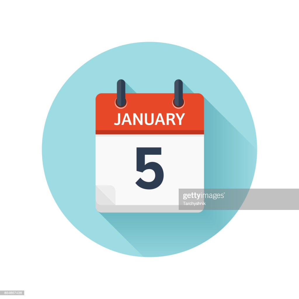 January 5. Vector flat daily calendar icon. Date and time, day, month 2018. Holiday. Season
