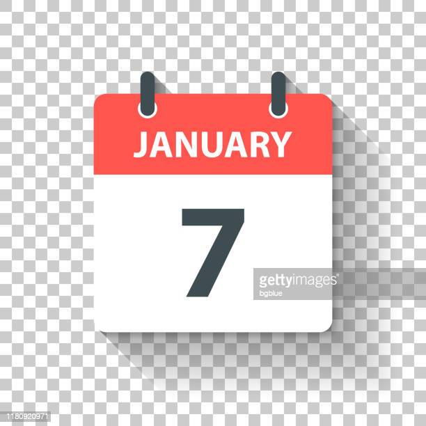 january 7 - daily calendar icon in flat design style - month stock illustrations