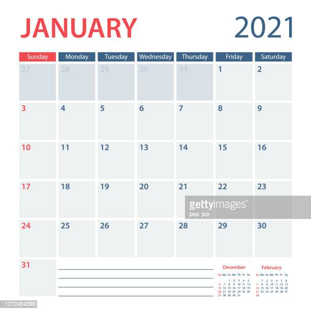 2021 january calendar planner vector template. week starts on sunday - january stock illustrations