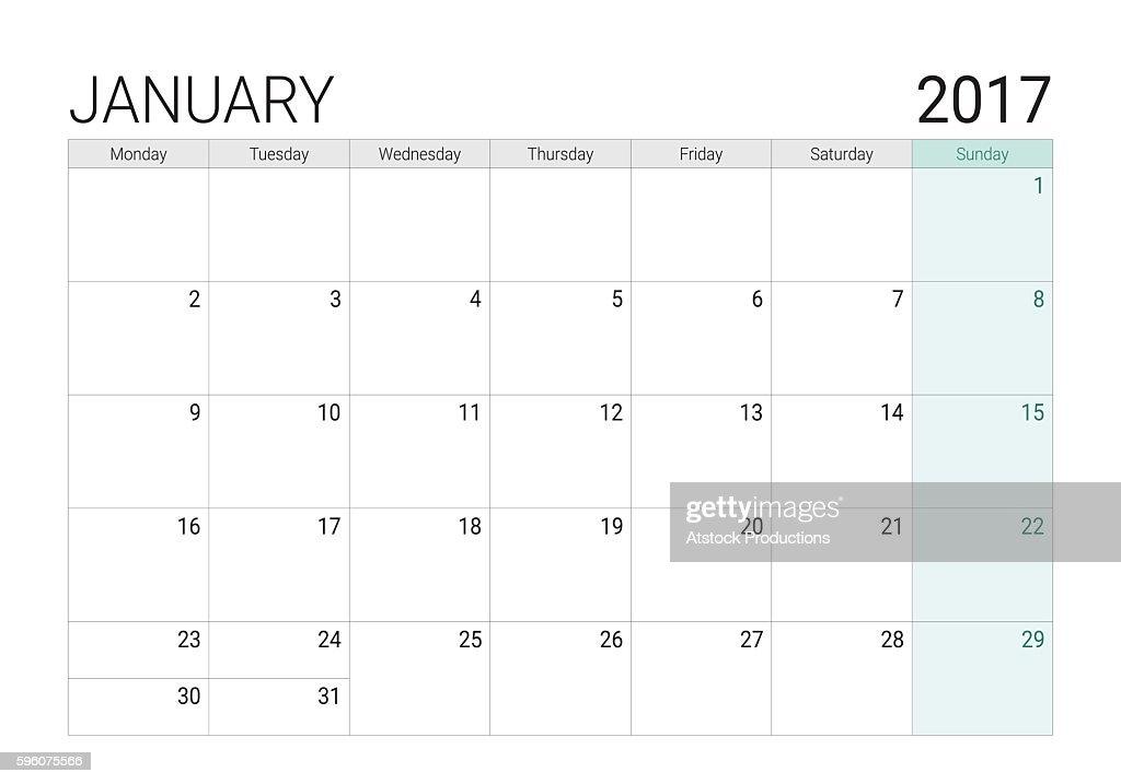 2017 January calendar (or desk planner)