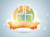 26 January, Indian Republic Day celebration badge.
